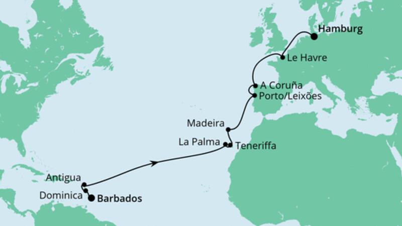 Von Barbados nach Hamburg