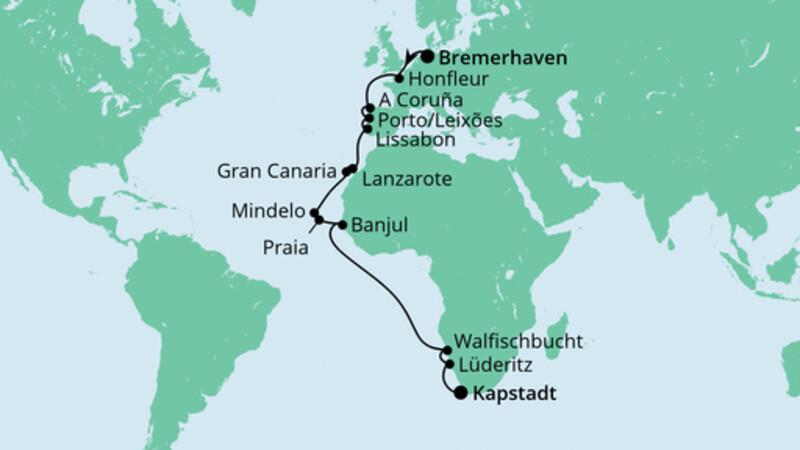 Von Bremerhaven nach Kapstadt