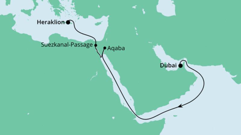 AIDA PUR von Dubai nach Kreta