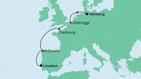 Weihnachtsreise von Hamburg nach Lissabon