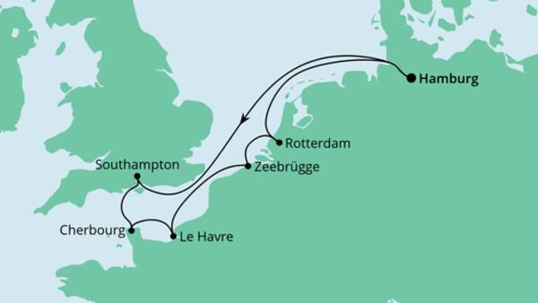 Metropolen ab Hamburg mit Cherbourg