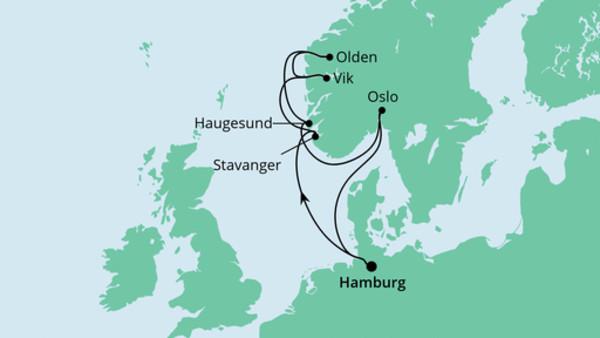 Norwegens Küste mit Fjorden
