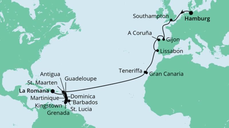 Von Hamburg in die Dominikanische Republik
