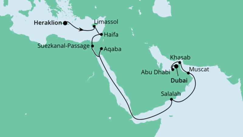 Von Kreta nach Dubai