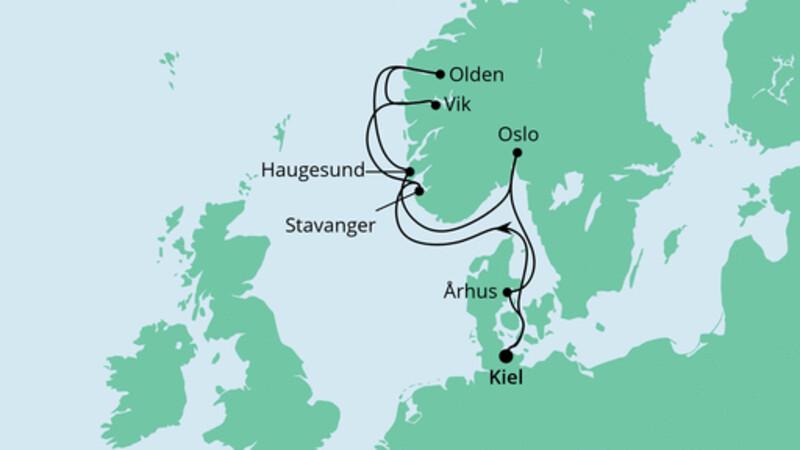 Norwegens Küste mit Fjorden ab Kiel