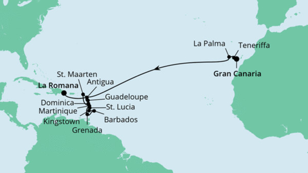 Von Gran Canaria in die Dominikanischen Republik