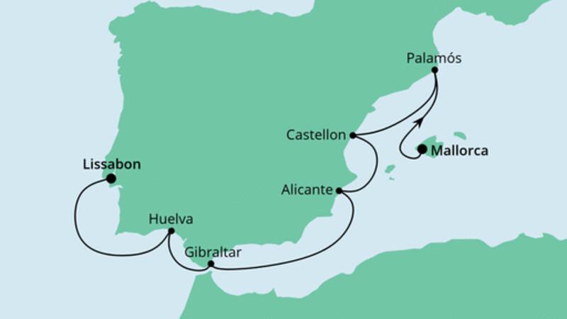 Von Mallorca nach Lissabon