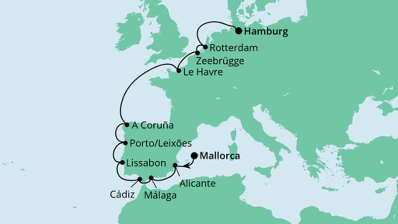 Von Mallorca nach Hamburg