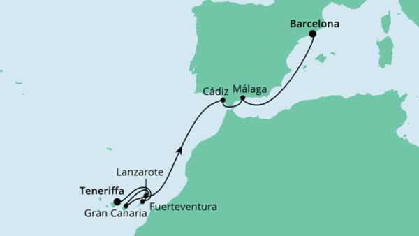 Von Teneriffa nach Barcelona