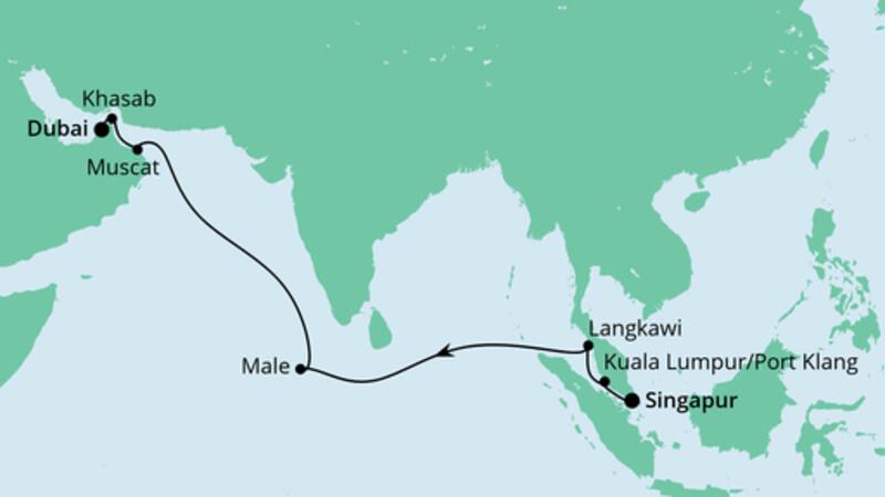 Von Singapur nach Dubai